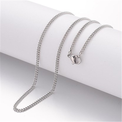304 Stainless Steel Necklace Making, Curb Chains, with Lobster Clasps-1