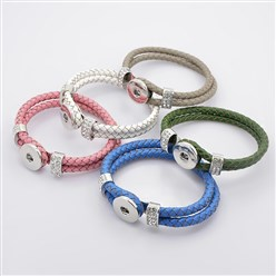 Mixed Color Leather Cord Snap Bracelet Making, with Environmental Zinc Alloy Grade A Rhinestones Snap Leather Cord Clasps and Snaps, Platinum, Mixed Color, 230x11mm; Fit Snap Buttons in 6mm Knob