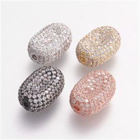Brass Micro Pave Cubic Zirconia Beads, Oval, Clear