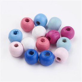 Wood Beads, Dyed, Round