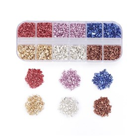 FGB&reg Plated Glass Seed Beads, For Nail Art Decoration Accessories, No Hole/Undrilled, Chips