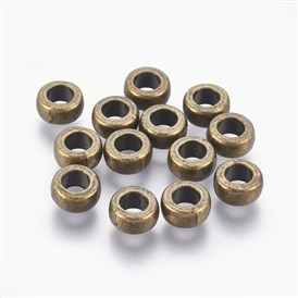 Tibetan Style Alloy Beads, Rondelle, Bead Spacers, 7x4mm, Hole: 3mm