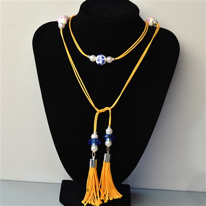 DIY Necklace Kits, Beaded Waxed Cord Tiered Necklace-1