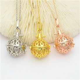 Filigree Brass Round Cage Ball Cage Pendants, For Chime Ball Pendant Necklaces Making, Lead Free & Cadmium Free & Nickel Free, 44mm, Inner: 18mm, Hole: 3.5x9mm