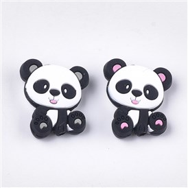 Food Grade Environmental Silicone Beads, Chewing Beads For Teethers, DIY Nursing Necklaces Making, Panda