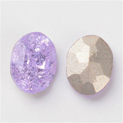 Pointed Back Glass Rhinestone Cabochons, Back Plated, Faceted, Oval-1