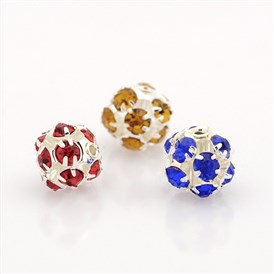 Silver Plated Brass Rhinestone Beads, Hollow Round