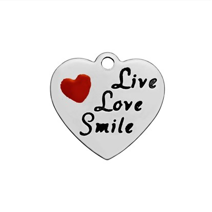304 Stainless Steel Enamel Pendants, Heart with Word Live Love Smile-1