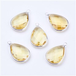 ChampagneYellow Silver Tone Brass Glass Drop Pendants, Faceted, ChampagneYellow, 18x10x5mm, Hole: 2mm