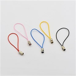 Mixed Color Mobile Phone Strap, DIY Cell Phone Straps, Nylon Cord Loop with Brass Ends, Platinum, Mixed Color, 50mm