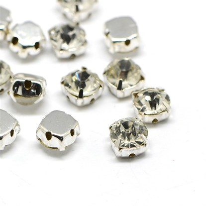 Square Brass Rhinestone Beads, Grade B, Platinum Metal Color, 6.5x6.5x5mm, Hole: 1mm