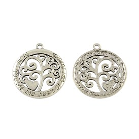 Tibetan Style Alloy Flat Round with Tree Pendants, Cadmium Free & Lead Free