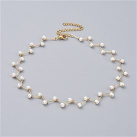 Glass Pearl Beaded Choker Necklaces, with Brass Pins and 304 Stainless Steel Findings, White