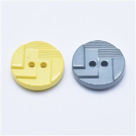 2-Hole Plastic Buttons, Flat Round