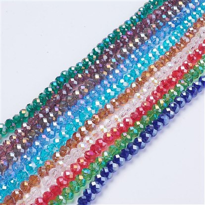 Electroplate Glass Beads Strands, AB Color Plated, Faceted, Abacus-1