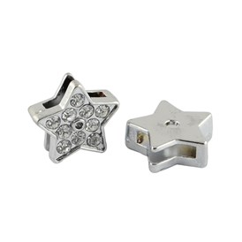 Alloy Star Slide Charms with Grade A Rhinestones, 12x12x4mm, Hole: 8x2mm