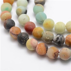 Frosted Natural Amazonite Bead Strands, Round