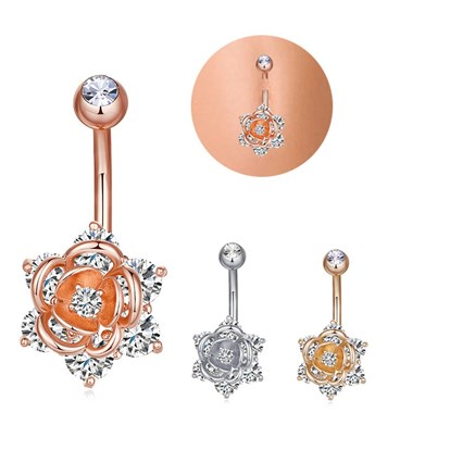 Brass Piercing Jewelry, Belly Rings, with Cubic Zirconia, Mixed Shapes