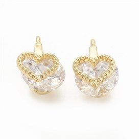 Cubic Zirconia Charms, with Brass Findings, Heart, Clear