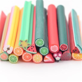 Polymer Clay Nail Art Decoration, Fashion Nail Care, No Hole Tubes, Fruit Series Shape, 50mm long