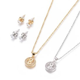 304 Stainless Steel Jewelry Sets, Brass Micro Pave Cubic Zirconia Pendant Necklaces and 304 Stainless Stud Earrings, with Plastic Ear Nuts/Earring Back, Flat Round with Infinity