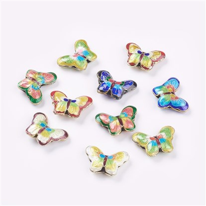Handmade Cloisonne Beads, Butterfly, Mixed Color, 17x23x5mm, Hole: 2mm
