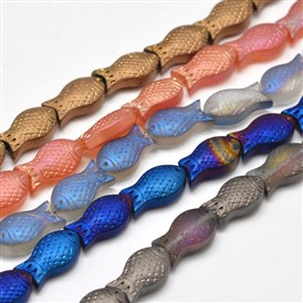 Frosted Electroplate Glass Fish Beads Strands, 15x8x5mm, Hole: 1mm; about 30pcs/strand, 16""