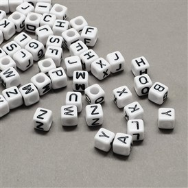 Large Hole Acrylic Letter European Beads, White & Black, Cube with Letter