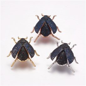 Brass Micro Pave Cubic Zirconia Broochs, Beetle