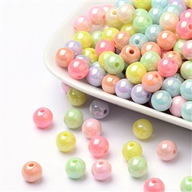 AB Color Plated Acrylic Round Beads
