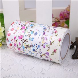 Single Face Flower Printed Cotton Ribbon, with Adhesive Tape on the Other Side, 10rolls/group