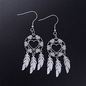 201 Stainless Steel Chandelier Earrings, Woven Net/Web with Feather