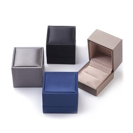 Imitation PU Leather Covered Wooden Jewelry Ring Boxes, Rectangle