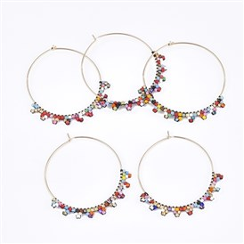 Handmade Japanese Seed Beads Wine Glass Charms, with Brass Hoop Earrings, Golden