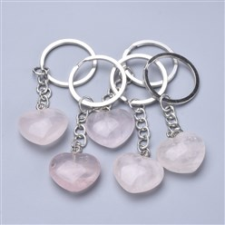 Rose Quartz Natural Gemstone Key Chains, with Iron Findings, Heard, 80mm