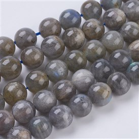 Natural Labradorite Beads Strands,  Round, Hole: 1mm