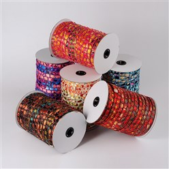 Mixed Color Cloth Cord, with Polyester, Mixed Color, 12x4mm; about 50yards/roll