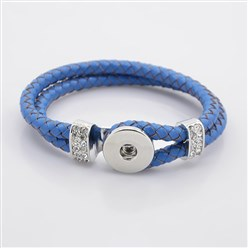 DodgerBlue Leather Cord Snap Bracelet Making, with Environmental Zinc Alloy Grade A Rhinestones Snap Leather Cord Clasps and Snaps, Platinum, DodgerBlue, 230x11mm; Fit Snap Buttons in 6mm Knob