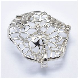 925 Sterling Silver Cubic Zirconia Brooch Findings, For Half Drilled Beads, Lotus Leaf