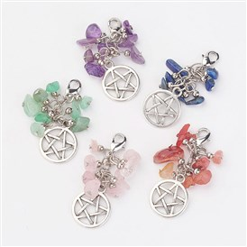 Natural Gemstone Chips Pendants, with Flat Round with Pentagram Pendants and Brass Lobster Claw Clasps