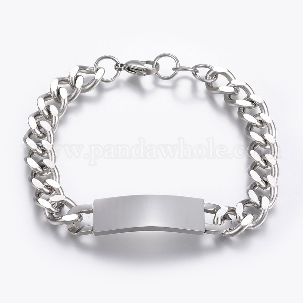 304 Stainless Steel Id Bracelets With Lobster Claw Clasps 00rtpp