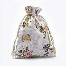 Polycotton(Polyester Cotton) Packing Pouches Drawstring Bags, with Printed Birdcage and Butterfly