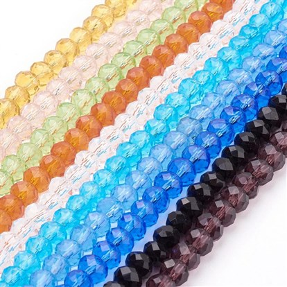 Faceted Rondelle Handmade Glass Beads, for DIY Crafting