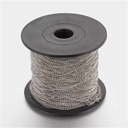 Iron Twisted Chains, Curb Chains, Come On Reel, 0.5x1.7x2.8mm, about 100m/roll-1