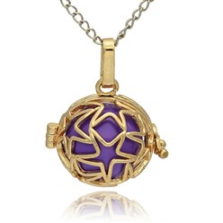 BlueViolet Golden Tone Brass Hollow Round Cage Mexican Ball Pendants, with No Hole Spray Painted Brass Ball Beads, BlueViolet, 23x24x18mm, Hole: 3x8mm