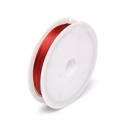 Red DIY Jewelry Thread Findings Colored Tiger Tail Wire, Nylon-coated Stainless Steel, Red, 0.38mm; 50m/roll