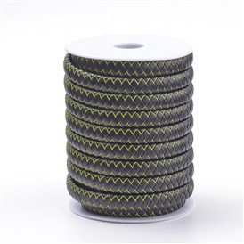 Flat Microfiber PU Leather Braided Cords, with Steel Wires and Microfiber Leather Cords inside