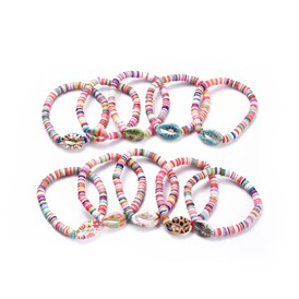 Stretch Bracelets Sets, with Paint Cowrie Shell Beads and Handmade Polymer Clay Heishi Beads