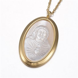 304 Stainless Steel Pendant Necklaces, with Shell, Oval with Jesus