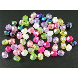 Plating Acrylic Beads, Faceted Round, Mixed Color, 4x3.5mm, Hole: 1mm; about 16400pcs/500g